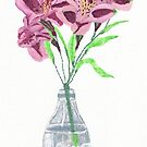 alstroemeria in glass bottle.  by KBlackmore