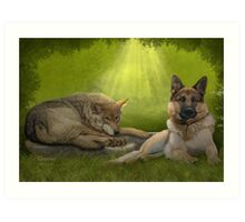 Cousins in the Evening Forest Art Print