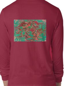 Turquoise and Pink Fallen Leaves Long Sleeve T-Shirt
