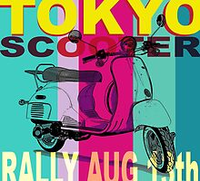 Tokyo Scooter Rally Poster Blue Square by Edward Fielding