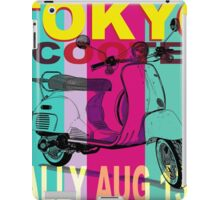 Tokyo Scooter Rally Poster Blue Square iPad Case/Skin