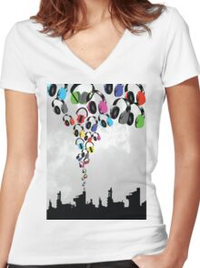 DJ Headphone Factory Women's Fitted V-Neck T-Shirt