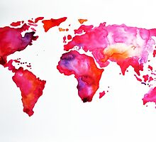 Pink World Map by ArtCornerShop