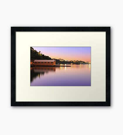 Swan River Boatshed At Sunset  Framed Print