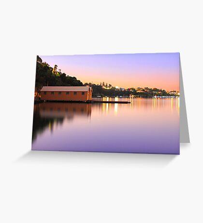 Swan River Boatshed At Sunset  Greeting Card
