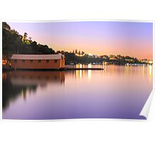 Swan River Boatshed At Sunset  Poster