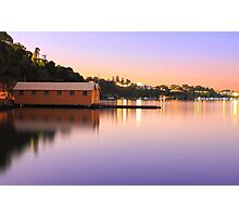 Swan River Boatshed At Sunset  Photographic Print
