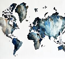Blue Black World Map by ArtCornerShop