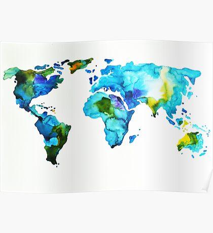Blue Green World Map Poster