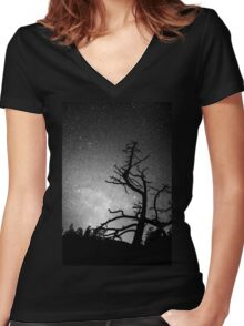 Astrophotography Night Black and White Portrait View Women's Fitted V-Neck T-Shirt
