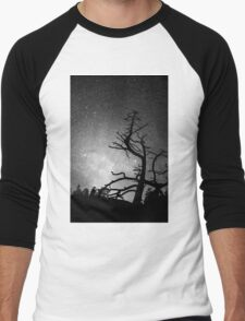 Astrophotography Night Black and White Portrait View Men's Baseball ¾ T-Shirt