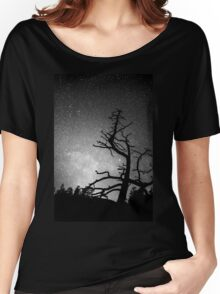 Astrophotography Night Black and White Portrait View Women's Relaxed Fit T-Shirt