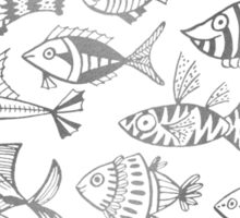 Silver Inked Fish Sticker
