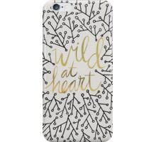 Wild at Heart – Gold & Black on White iPhone Case/Skin