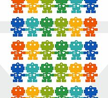 Rainbow Robots holding hands by XOOXOO