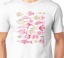 Pink & Gold Inked Fish Unisex T-Shirt