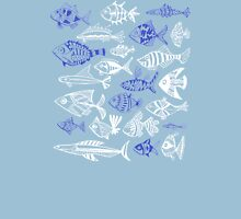 Inked Fish on Turquoise Unisex T-Shirt