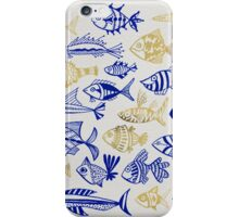 Gold & Navy Inked Fish iPhone Case/Skin