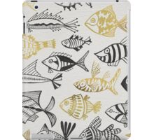 Grey & Gold Inked Fish iPad Case/Skin