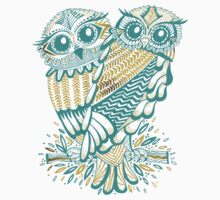 Owls – Gold & Turquoise T-Shirt
