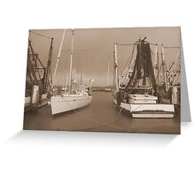 Boats at the Mariner in Flooded Ballina. Greeting Card