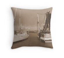 Boats at the Mariner in Flooded Ballina. Throw Pillow