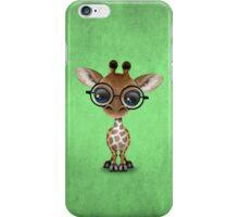 Cute Curious Baby Giraffe Wearing Glasses on Green iPhone Case/Skin