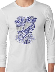 Owls – Silver & Navy Long Sleeve T-Shirt