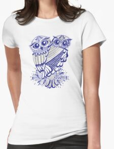 Owls – Silver & Navy Womens Fitted T-Shirt