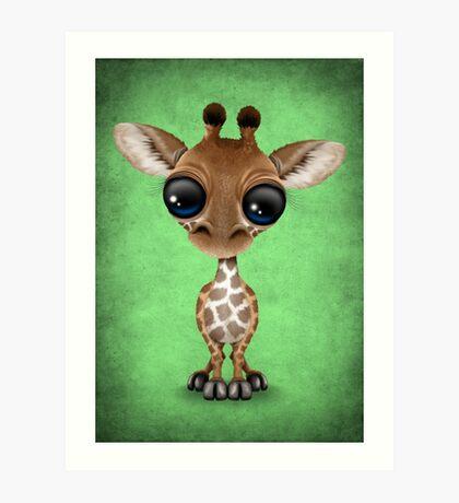 Cute Curious Baby Giraffe on Green Art Print