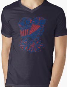 Owls – Navy & Red Mens V-Neck T-Shirt