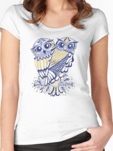 Owls – Navy & Gold Women's Fitted Scoop T-Shirt