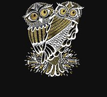 Owls – Gold & White on Charcoal Unisex T-Shirt