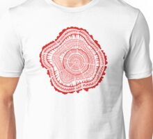 Red Tree Rings Unisex T-Shirt