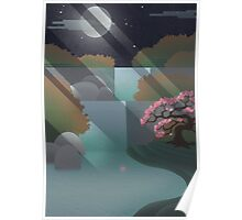 The Waterfall and the Cherry tree Poster