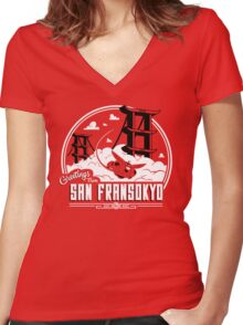 Greetings from San Fransokyo Women's Fitted V-Neck T-Shirt
