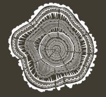 Tree Rings – White Ink on Kraft T-Shirt