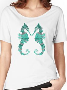 Seahorse – Turquoise & Silver Women's Relaxed Fit T-Shirt