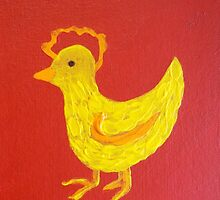 Rooster on Red by Holly Cannell by hollycannell