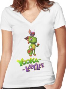 Yooka-Laylee Women's Fitted V-Neck T-Shirt