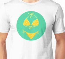 Yellow Polka Dot Bikini on Mint Unisex T-Shirt
