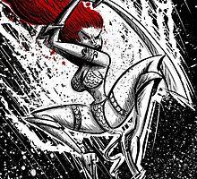 Red Sonja, Red Sonya, Joe Badon, comic book, wall art, illlustration, cartoon, comic, Fantasy, Conan the Barbarian, Brigitte Nielsen, Warrior by Joe Badon