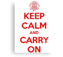 Keep Calm Carry On Calgary Red Canvas Print