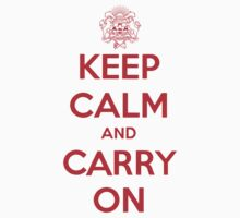 Keep Calm Carry On Calgary Red by Morgan Booker