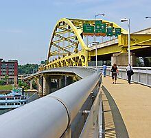 Yellow bridge of Pittsburgh by Zal Lazkowicz