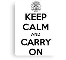 Keep Calm Carry On Calgary Black Canvas Print