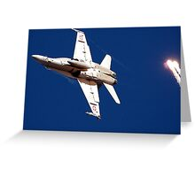 Swiss FA18 with flares Greeting Card
