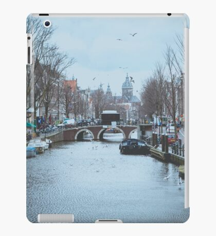 Birds flying over canal iPad Case/Skin