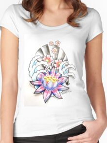 lotus and blossoms in water Women's Fitted Scoop T-Shirt