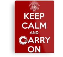 Keep Calm Carry On Calgary White Metal Print